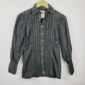 Free People | Charcoal Gray Button Down Blouse 0